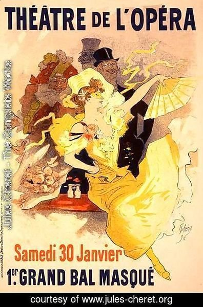Jules Cheret - Reproduction of a poster advertising the first 'Grand Bal Masque', Theatre de L'Opera, Paris, 1896