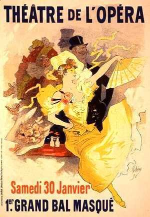 Reproduction of a poster advertising the first 'Grand Bal Masque', Theatre de L'Opera, Paris, 1896