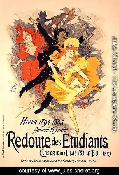 Reproduction of a poster advertising a 'Student Gala Evening', at the Bullier Room, Closerie des Lilas, 1894
