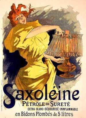 Reproduction of a poster advertising 'Saxoleine', safe parrafin oil, 1896