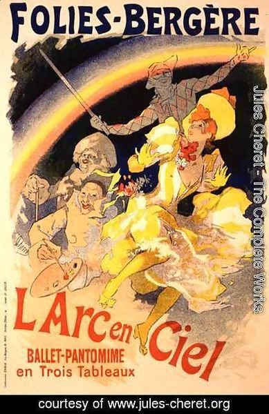 Reproduction of a poster advertising 'The Rainbow', a ballet-pantomime presented by the Folies-Bergere, 1893