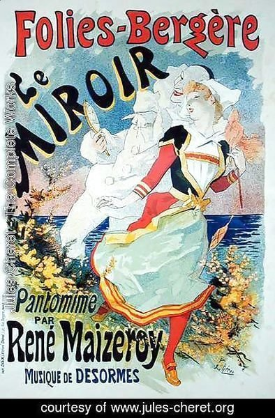 Reproduction of a poster advertising 'The Mirror', a pantomime by Rene Maizeroy at the Folies-Bergere