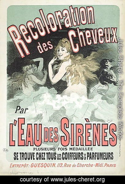 Poster advertising 'L'Eau des Sirenes' hair colourant, 1899