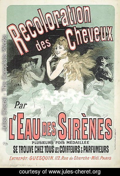 Jules Cheret - Poster advertising 'L'Eau des Sirenes' hair colourant, 1899