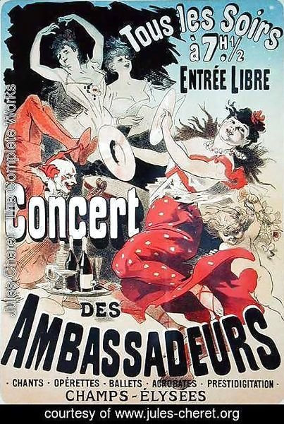 Jules Cheret - Reproduction of a poster advertising an 'Ambassadors' Concert', Champs Elysees, Paris, 1884