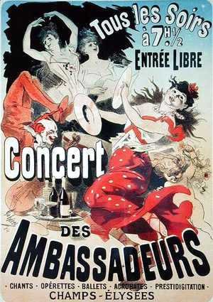 Reproduction of a poster advertising an 'Ambassadors' Concert', Champs Elysees, Paris, 1884