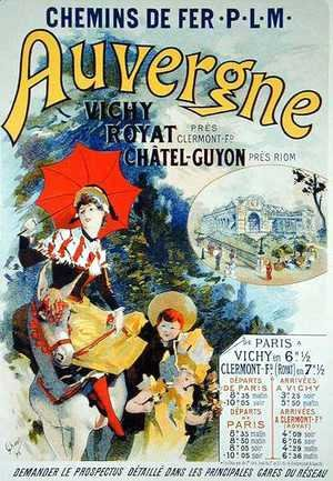Jules Cheret - Reproduction of a poster advertising the 'Auvergne Railway', France, 1892