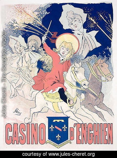 Jules Cheret - Reproduction of a poster advertising the 'Casino d'Enghien', 1890