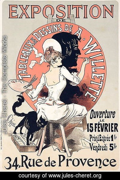 Reproduction of a poster advertising an 'Exhibition of the Paintings and Drawings of A. Willette (1857-1926), Rue de Provence, 1888