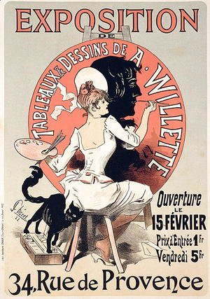 Jules Cheret - Reproduction of a poster advertising an 'Exhibition of the Paintings and Drawings of A. Willette (1857-1926), Rue de Provence, 1888