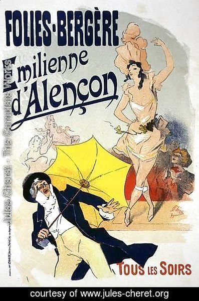 Jules Cheret - Reproduction of a poster advertising 'Emile d'Alencon', every evening at the Folies-Bergeres, 1893 (