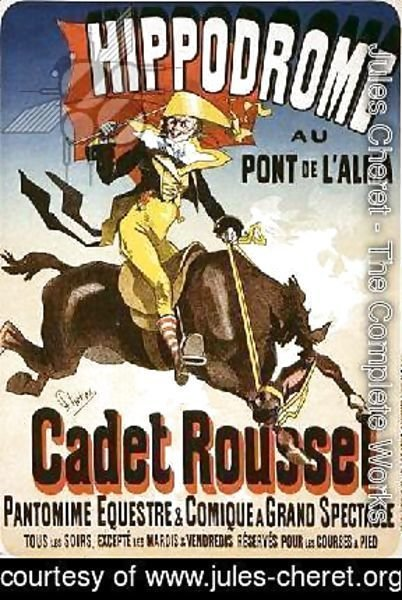 Reproduction of a poster advertising 'Cadet Roussel', an equestrian spectacle at the Hippodrome, 1882