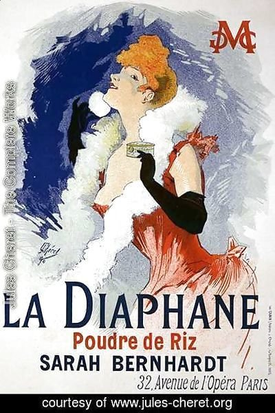 Reproduction of a poster advertising 'La Diaphane', translucent face-powder, modelled by Sarah Bernhardt (1844-1923), 1890
