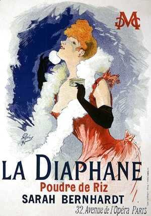 Jules Cheret - Reproduction of a poster advertising 'La Diaphane', translucent face-powder, modelled by Sarah Bernhardt (1844-1923), 1890