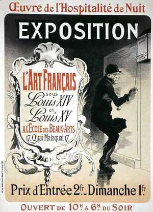 Jules Cheret - Reproduction of a poster advertising an 'Exhibition of French Art under the Reign of Louis XIV and XV' at the Ecole des Beaux-Arts, Paris