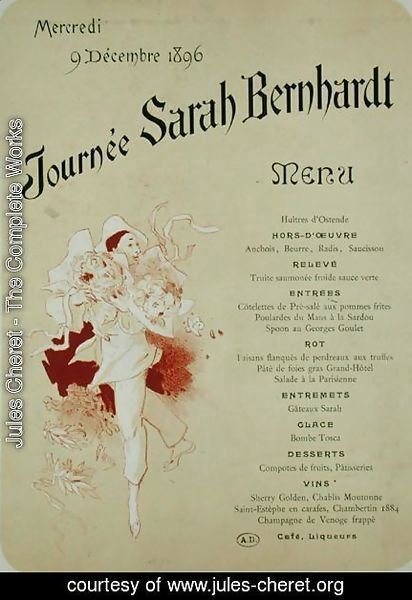 Mercredi 9 decembre 1896, Journee Sarah Bernhardt, Menu Card, 1896
