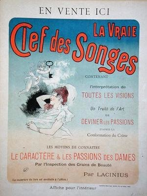 Poster advertising the book 'La Vraie Clef des Songes' by Lacinius, 1892
