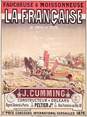 Poster advertising 'La Francaise, Reaper and Mower', made by J. Cumming of Orleans, 1876