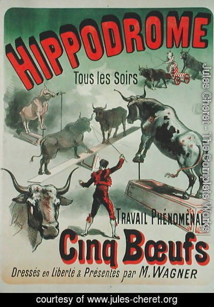 Poster advertising the performance of the 'Cinq Boeufs' at the Hippodrome