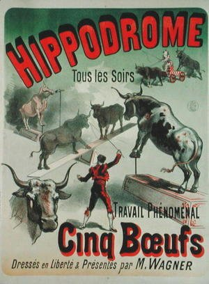 Jules Cheret - Poster advertising the performance of the 'Cinq Boeufs' at the Hippodrome