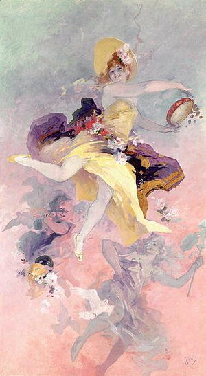 Jules Cheret - Dancer with a Basque Tambourine
