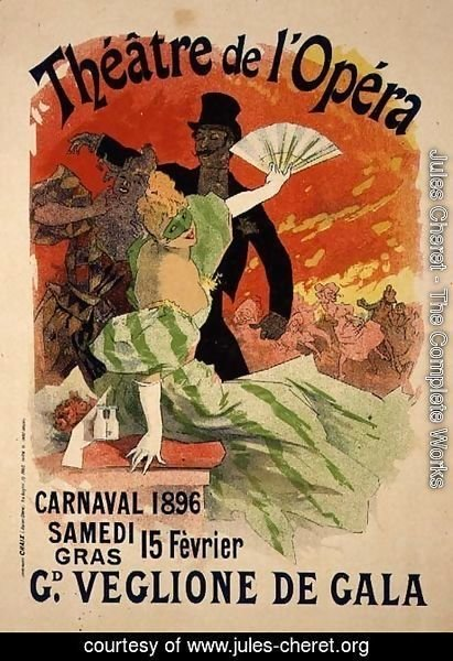 Reproduction of a Poster Advertising the 1896 Carnival at the Theatre de l'Opera, 15th February 1896