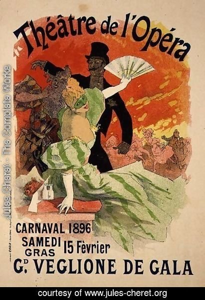 Jules Cheret - Reproduction of a Poster Advertising the 1896 Carnival at the Theatre de l'Opera, 15th February 1896