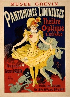 Reproduction of a Poster Advertising 'Pantomimes Lumineuses' at the Musee Grevin, 1892
