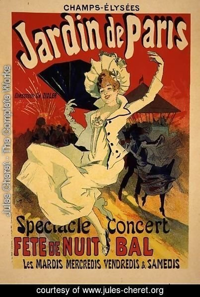 Reproduction of a Poster Advertising the 'Jardin de Paris' on the Chanps Elysees, 1890