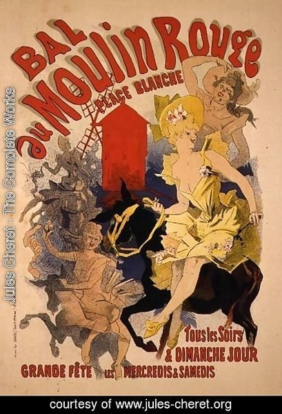 Jules Cheret - Reproduction of a Poster Advertising the 'Bal au Moulin Rouge', 1889