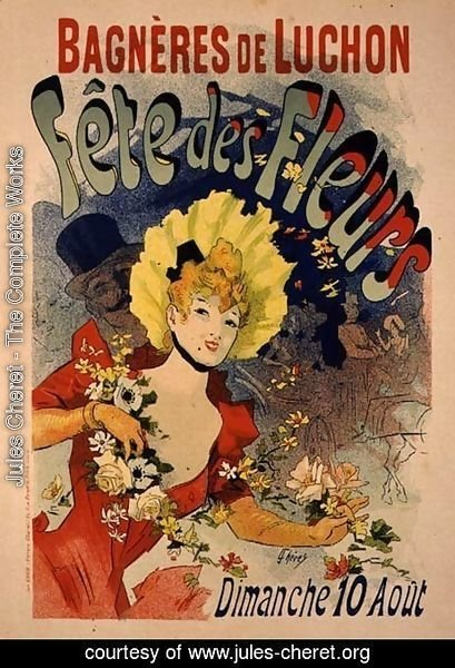Reproduction of a Poster Advertising the Flower Festival at Bagneres-de-Luchon, 1890
