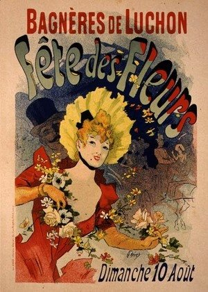 Jules Cheret - Reproduction of a Poster Advertising the Flower Festival at Bagneres-de-Luchon, 1890