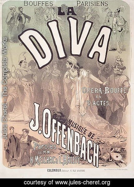 Jules Cheret - Poster advertising 'La Diva', opera bouffe with music