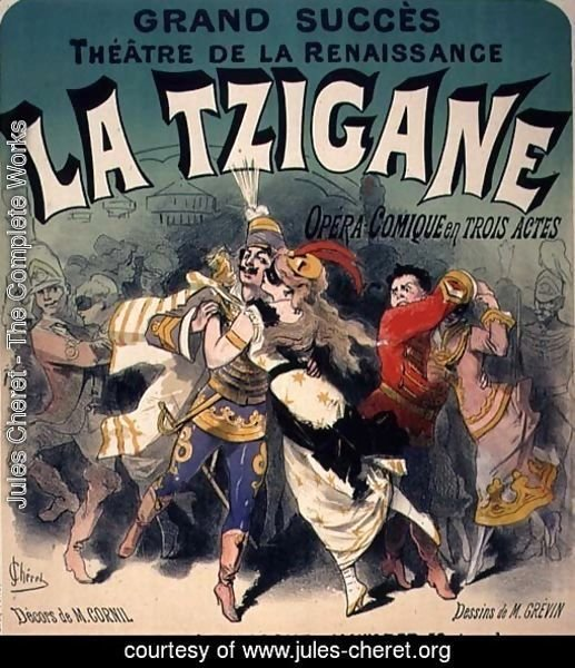 Poster advertising 'La Tzigane', comic opera with music