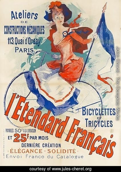 'The French Standard', poster advertising the 'Atelier de Constructions Mecaniques, Bicycles and Tricycles, Paris, 1891