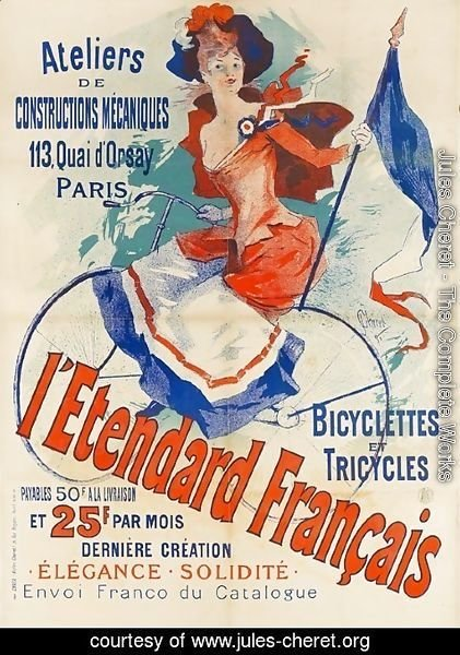 Jules Cheret - 'The French Standard', poster advertising the 'Atelier de Constructions Mecaniques, Bicycles and Tricycles, Paris, 1891