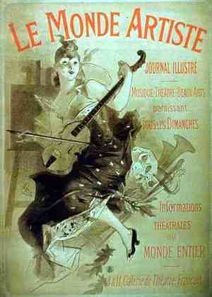 Jules Cheret - Advertisement for the Illustrated Journal, 'Le Monde Artiste'