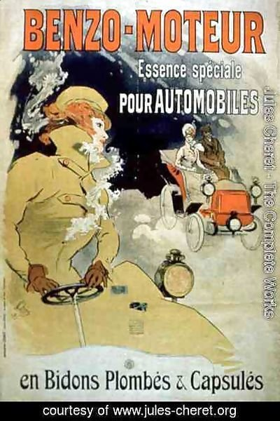 Poster advertising 'Benzo-Moteur' Motor Oil Especially for Automobiles, 1901