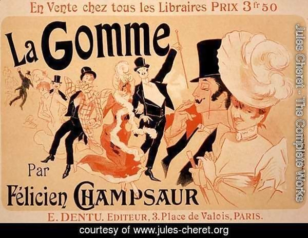 Reproduction of a poster advertising 'La Gomme', by Felicien Champsaur