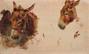 Jules Cheret - Studies of a donkey